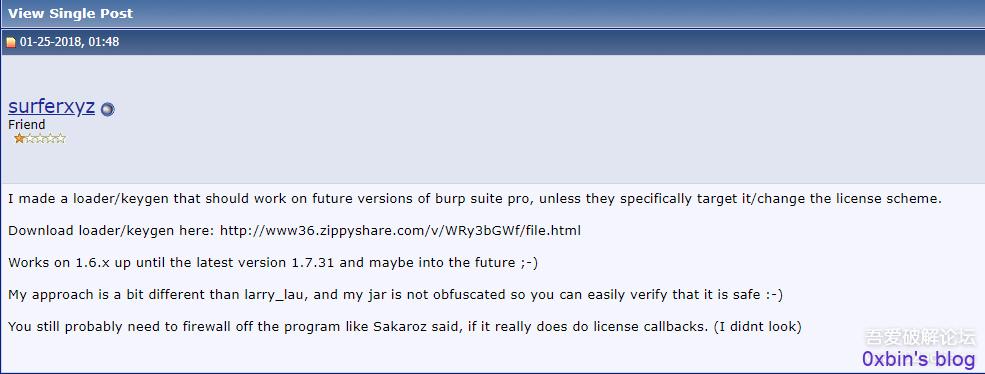 Burp Suite Pro Loader&Keygen By surferxyz(附带v1.7.31原版)